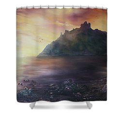 Shower Curtain featuring the painting Criccieth Castle North Wales by Jean Walker