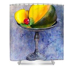 Cut Mango On Sterling Silver Dish Shower Curtain