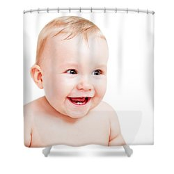 Cute Happy Baby Laughing On White Shower Curtain by Michal Bednarek