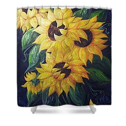 Dancing Sunflowers  Shower Curtain by Eloise Schneider