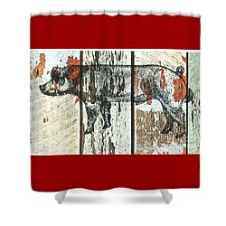 Shower Curtain featuring the drawing Danish Duroc Boar by Larry Campbell