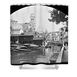 Shower Curtain featuring the photograph Pegnitz River Nuremberg Germany 1903 by A Gurmankin
