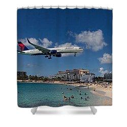 Delta Air Lines Landing At St Maarten Shower Curtain