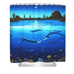 Shower Curtain featuring the painting Desert Dolphins by Lance Headlee