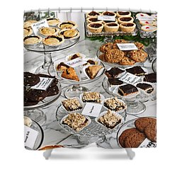 Desserts In Bakery Window Shower Curtain by Elena Elisseeva