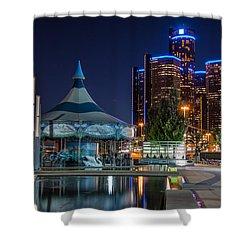 Detroit Riverwalk  Shower Curtain