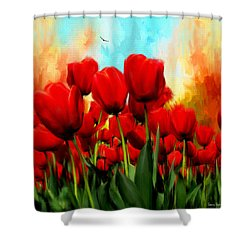 Devotion To One's Love- Red Tulips Painting Shower Curtain