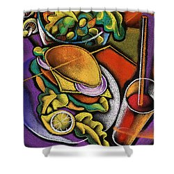 Food And Beverage Shower Curtain by Leon Zernitsky