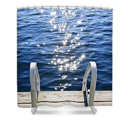 Dock On Summer Lake With Sparkling Water Shower Curtain by Elena Elisseeva
