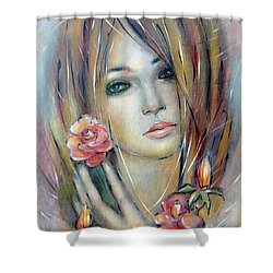 Doll With Roses 010111 Shower Curtain