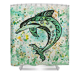 Shower Curtain featuring the painting Dolphin 2 by Darice Machel McGuire