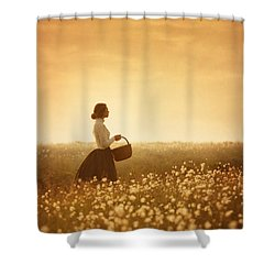 Edwardian Woman In A Meadow At Sunset Shower Curtain by Lee Avison