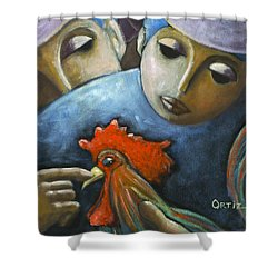 Shower Curtain featuring the painting El Gallo by Oscar Ortiz
