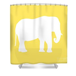 Elephant In Yellow And White Shower Curtain