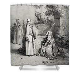 Eliezer And Rebekah Shower Curtain by Gustave Dore
