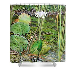 Emerald Lily Pond Shower Curtain by Caroline Street
