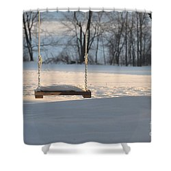 Shower Curtain featuring the photograph Empty Swing by John Black