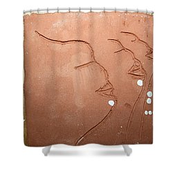 Faces - Tile Shower Curtain by Gloria Ssali