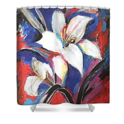 Fair Pure Fragile White Lilies Shower Curtain by Esther Newman-Cohen