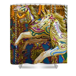 Shower Curtain featuring the photograph Fairground Carousel by Lee Avison