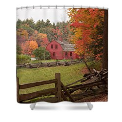 Fall Foliage Over A Red Wooden Home At Sturbridge Village Shower Curtain by Jeff Folger