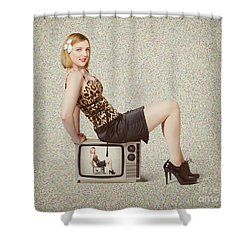 Female Television Show Actress On Old Tv Set Shower Curtain by Jorgo Photography - Wall Art Gallery
