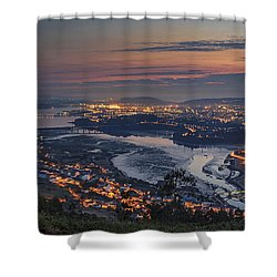Ferrol's Ria Panorama From Mount Ancos Galicia Spain Shower Curtain
