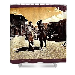 Film Homage Mark Slade Cameron Mitchell Riding Horses The High Chaparral Old Tucson Az C.1967-2013 Shower Curtain by David Lee Guss