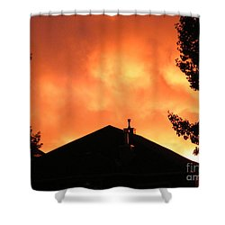 Shower Curtain featuring the photograph Fire In The Sky by Ann E Robson