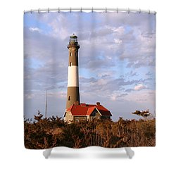 Shower Curtain featuring the photograph Fire Island Lighthouse by Karen Silvestri