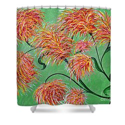 Shower Curtain featuring the painting Fireworks by Alys Caviness-Gober