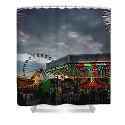Fireworks At An Amusement Park Shower Curtain by Darren Greenwood