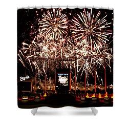 Fireworks At Kauffman Stadium Shower Curtain by Alan Hutchins