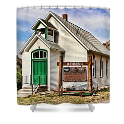 First Washakie County Church Shower Curtain by Cathy Anderson