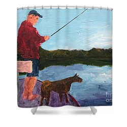 Shower Curtain featuring the painting Fishing by Donald J Ryker III