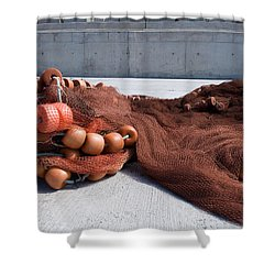 Fishing Nets Rest On Dock  Shower Curtain