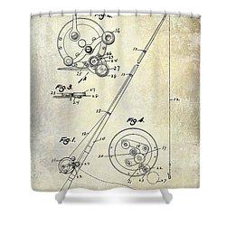 Fishing Reel Patent 1939 Shower Curtain