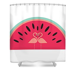 Flamingo Watermelon Shower Curtain