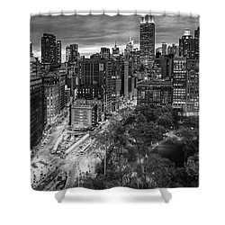 Flatiron District Birds Eye View Shower Curtain by Susan Candelario