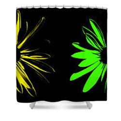 Flowers On Black Shower Curtain