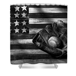 Folk Art American Flag And Baseball Mitt Black And White Shower Curtain by Garry Gay