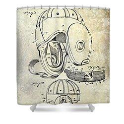 1927 Football Helmet Patent Shower Curtain by Jon Neidert