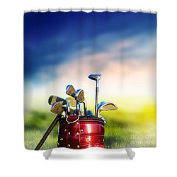 Football Soccer Ball On Green Grass Shower Curtain by Michal Bednarek
