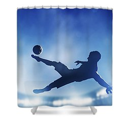 Football Soccer Match A Player Shooting On Goal Shower Curtain by Michal Bednarek