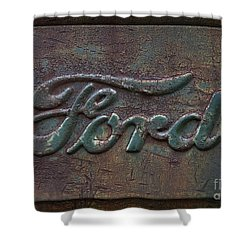 Detail Old Rusty Ford Pickup Truck Emblem Shower Curtain
