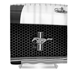 Ford Mustang Gt 350 Grille Emblem Shower Curtain by Jill Reger