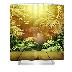 Forest Light Shower Curtain by Les Cunliffe