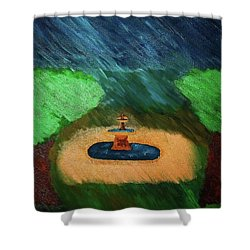 Fountain In The Midst Shower Curtain by Bamhs Blair