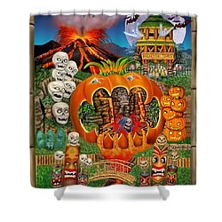 Freaky Tiki Tombs Shower Curtain by Glenn Holbrook