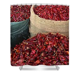 Shower Curtain featuring the photograph Fresh Dried Chilli On Display For Sale Zay Cho Street Market 27th Street Mandalay Burma by Ralph A  Ledergerber-Photography